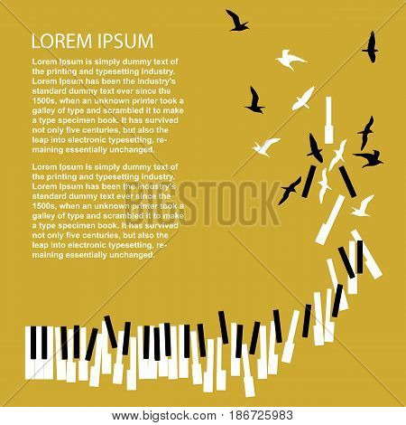 Piano keys turn into birds with copyspace for text. Template for concert poster. Music festival announcement.