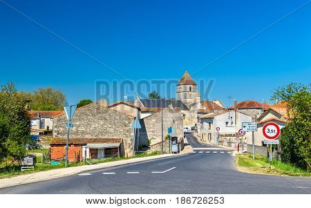 The medieval village of Chef-Boutonne in the Deux-Sevres department of France