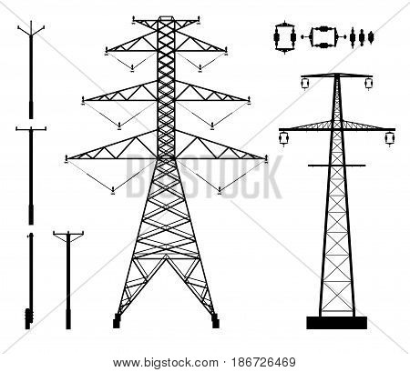 Set of high voltage poles and accessories silhouettes