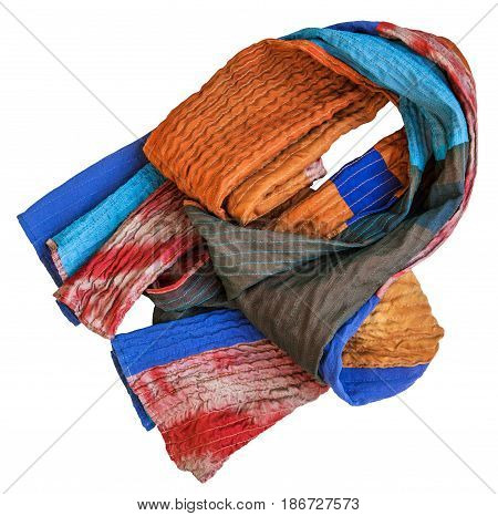 Folded Stitched Scarf From Batik And Painted Silk