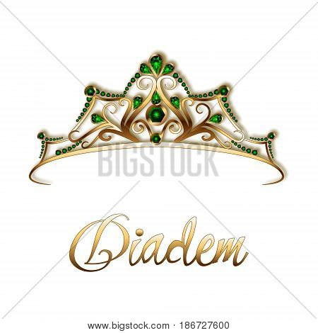 Diadem or crown made of gold and precious stones emeralds on a white background.