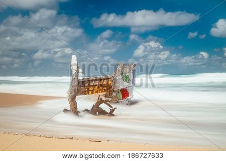 Beautiful secret tropical sea beach with gorgeous waves on the island paradise of Bali nature and old broken wooden boat. Indonesia outdoor landscape with fantastic white sand shoreline and blue ocean