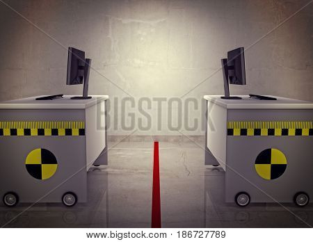 office desk with crash test sign and mark 3d rendering image