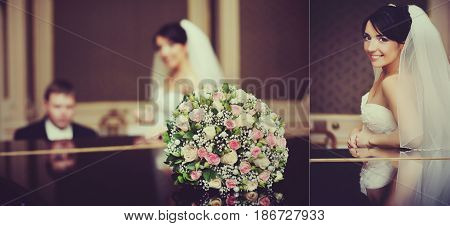 Doubled Picture Of A Couple At The Piano And Brunette Bride
