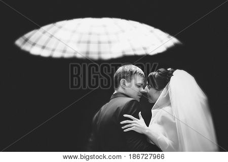 Black And White Picture Of Newlyweds Kissing Under The Glass Roof