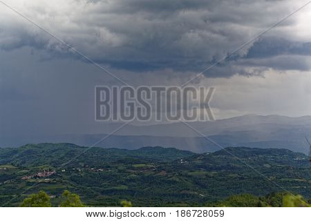 A rain front in the Istrian mountains in Croatia.