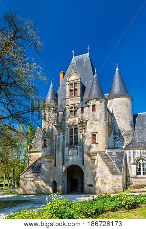 Javarzay Castle in Chef-Boutonne - Deux-Sevres, France. Built in 1514 in the Renaissance style, it is now a municipally-owned historic monument.