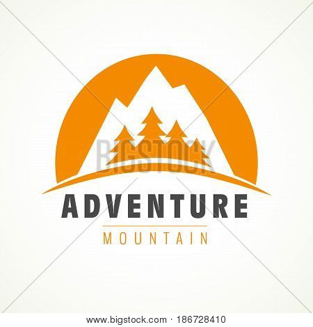 Adventure mountain pine tree logo. Mountain rock and pines outdoor camping labels. Vector climbing label, hiking travel and adventure illustration