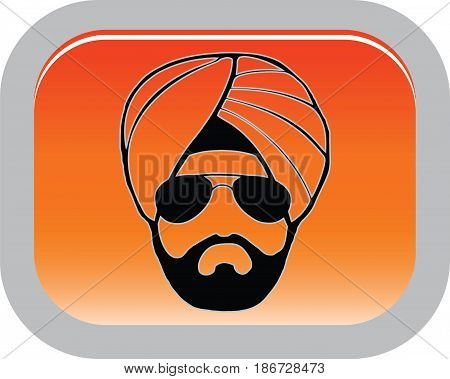 Sikh man in a turban, buttons, vector