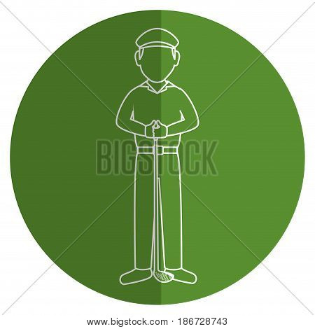 golf player with club avatar character vector illustration design