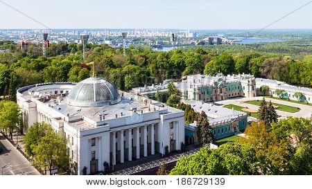 Kyiv City Skyline With Rada Building In Spring