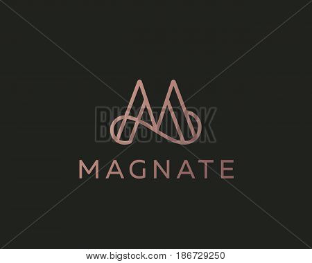 Elegant line curve vector logotype. Premium letter M logo design. Luxury linear creative monogram