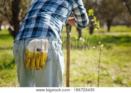 What a busy day. Mature guy wearing a plaid shirt and jeans with his rubber gloves in a rear pocket resting in a garden by leaning on a shovel