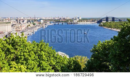 View Of Kiev City With River Port And Dnieper