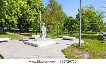 Monument Of Dante Alighieri In Public Urban Park