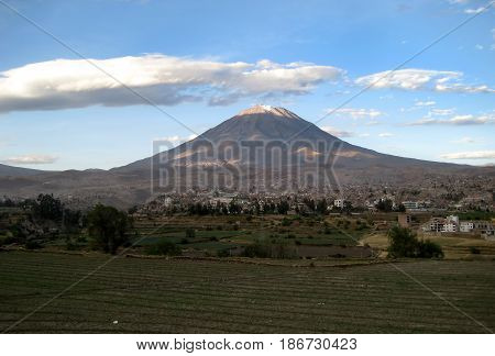 Misti volcano above the city of Arequipa, Peru.