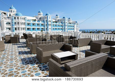 The terrace and building of luxury hotel Antalya Turkey