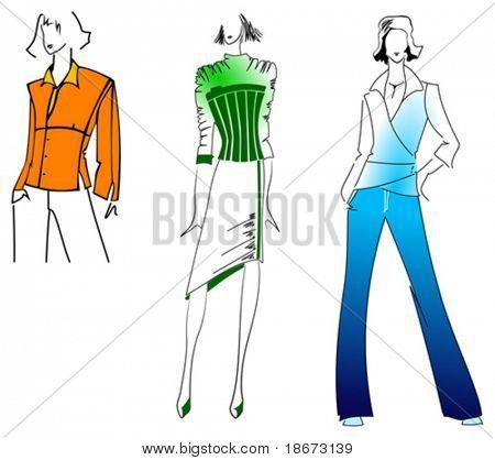 Orange Green Blue Fashion Girl