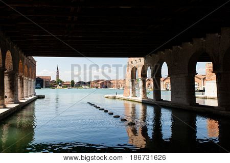 View of the arcade at the Arsenale in Venice