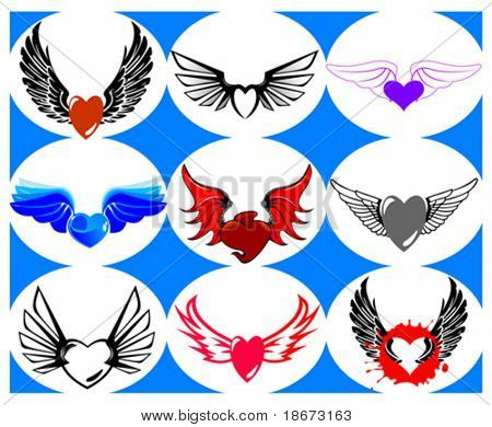Nine Brand New Hearts on the Wings. Vector Illustration.