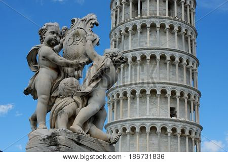 Leaning tower of Pisa and famous monumet in PIsa - Italy