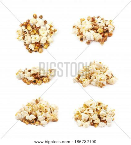 Pile of semi-cooked popcorn kernels isolated over the white background, set of six different foreshortenings