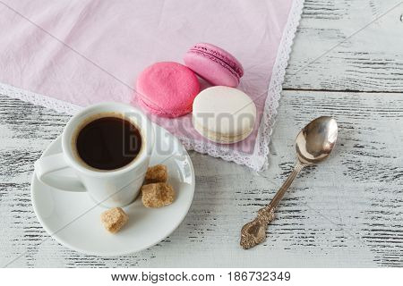 Good Morning Or Have A Nice Day Message Concept - White Cup Of Frothy Espresso Coffee With Colourful