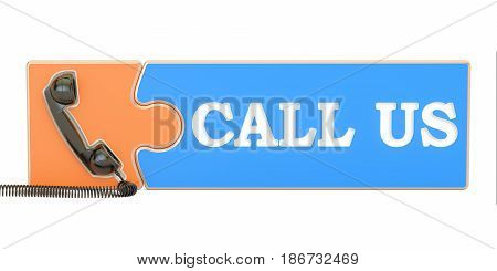 call us concept 3D rendering isolated on white background