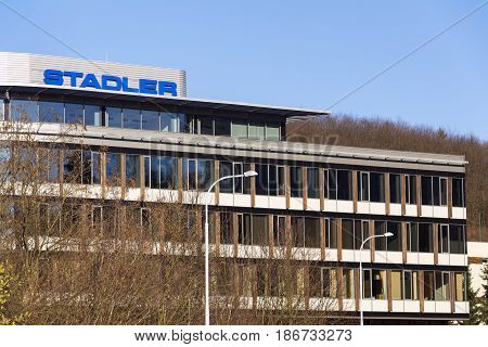 Prague, Czech Republic - March 26: Swiss Manufacturer Of Railway Rolling Stock Stadler Company Logo