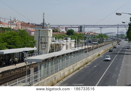 LISBON, PORTUGAL - APRIL 24: View at Belem train station and Avenida da India in the distrct Belem in Lisbon Portugal on April 24, 2017