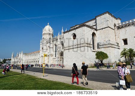 LISBON, PORTUGAL - APRIL 24: The landmark Mosteiro dos Jeronimos in the Belem district in Lisbon Portugal on April 24, 2017