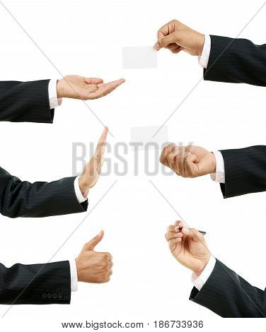 Collage of businessman hand on white background