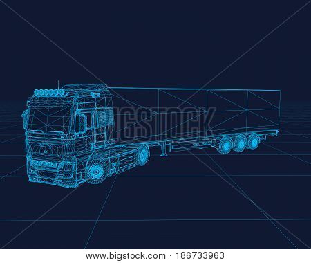 Truck wireframe, perspective 3d technology vector illustration