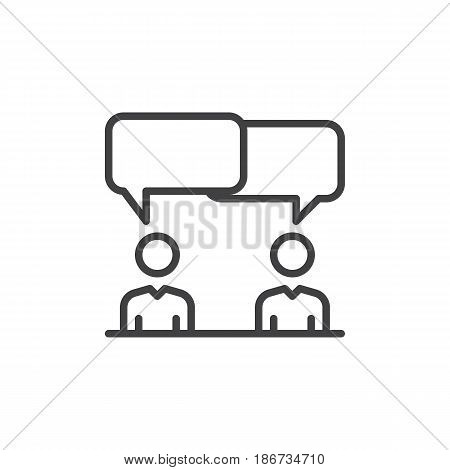 Discussion dispute line icon outline vector sign linear style pictogram isolated on white. Symbol logo illustration. Editable stroke. Pixel perfect