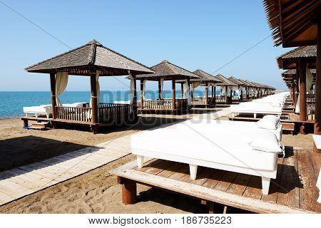 The beach at luxury hotel Antalya Turkey