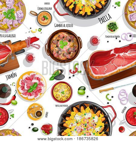 Top view Spanish food seamless pattern with seafood paella, iberian ham on a jamonera, gazpacho, garlic shrimps, braised octopus, churros and red wine for your design