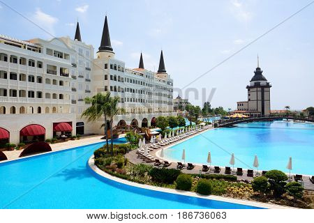 ANTALYA TURKEY - APRIL 23: The Mardan Palace luxury hotel is considered Europe's most expensive luxury resort on April 23 2014 in Antalya Turkey. It is was opened in 2009 and costs $1.4 billion.