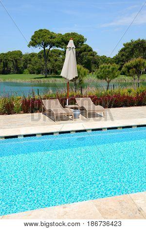 The swimming pool at luxury hotel Antalya Turkey