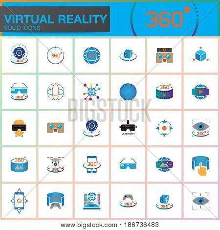 Virtual reality colorful solid icons set. Innovation technologies AR glasses Head-mounted display VR gaming device. Modern flat line design vector collection. Outline logo illustration concept