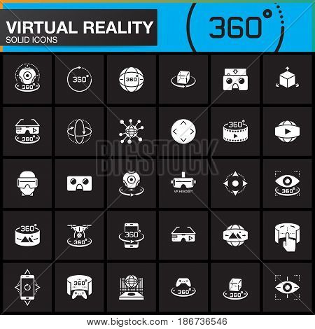 Virtual reality solid icons set. Innovation technologies AR glasses Head-mounted display VR gaming device. Modern flat design vector collection. logo illustration concept
