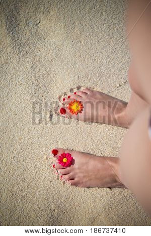 Female feet in sand at the beach. Summer vacation concept.