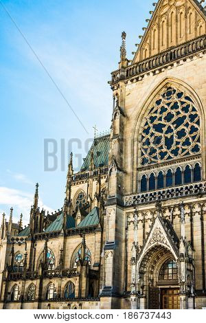 New dome (Mariendom) gothic cathedral in Linz Upper Austria main portal view architectural details tourist attraction famous sightseeing place selective focus
