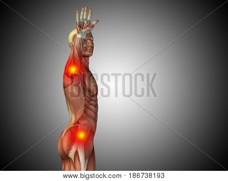Conceptual 3D illustration human man anatomy upper body or health design, joint or articular pain, ache or injury on gray gradient background