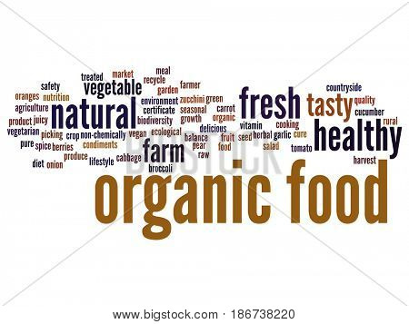 Concept conceptual organic food healthy bio vegetables abstract word cloud isolated background. Collage of natural, fresh tasty farm agriculture, certificate ecological garden quality crop text