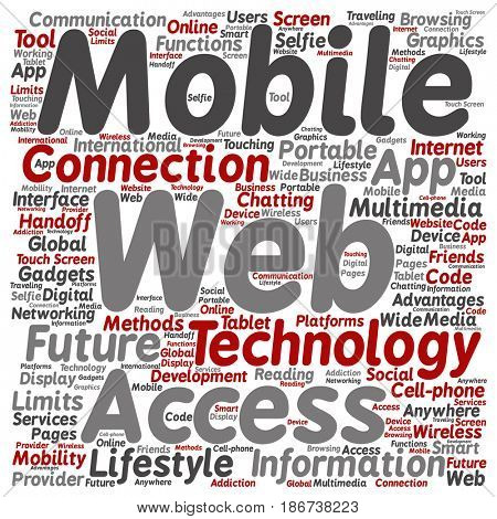 Concept or conceptual mobile web portable multimedia technology square word cloud isolated background. Collage of access, future app lifestyle communication, social tool, online services text