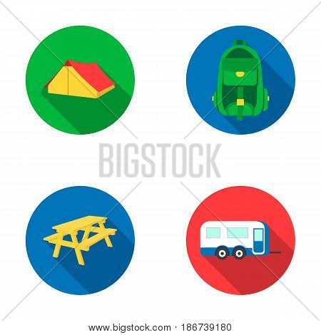 Tent, backpack, table with a bench, trailer.Camping set collection icons in flat style vector symbol stock illustration .