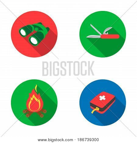 First aid kit, folding knife, binoculars, fire.Camping set collection icons in flat style vector symbol stock illustration .