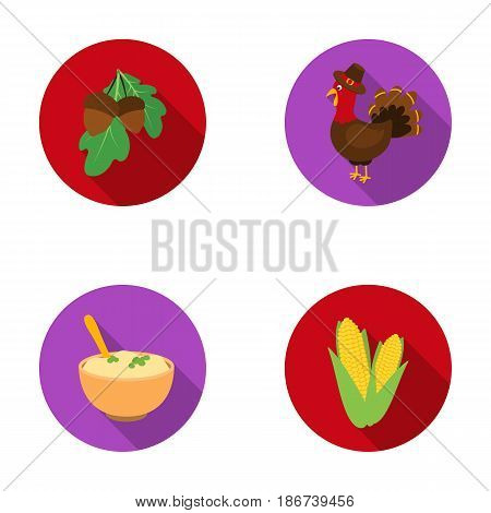 Acorns, corn.arthene puree, festive turkey, Canada thanksgiving day set collection icons in flat style vector symbol stock illustration .