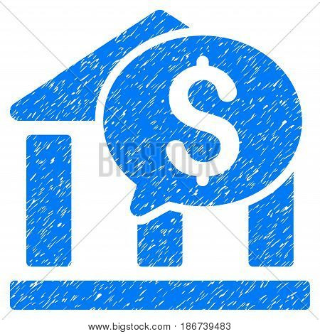 Grunge Bank Message icon with grunge design and dirty texture. Unclean vector blue pictogram for rubber seal stamp imitations and watermarks. Draft sticker symbol.