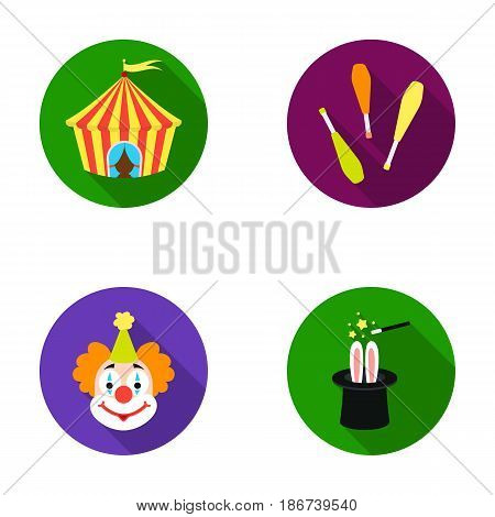 Circus tent, juggler maces, clown, magician's hat.Circus set collection icons in flat style vector symbol stock illustration .